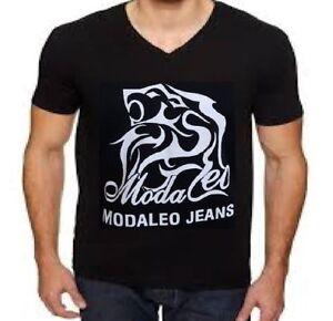 Modaleo V Neck Cotton T shirt Top Black with Dragon Logo Mens T-Shirt mens top