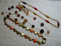 VINTAGE ORANGE & BROWN WOOD & LUCITE BEADED LONG NECKLACE LOT