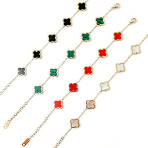 Clover Bracelet Bangle Lucky White Red Green Black Shell Stone 18k Gold Plated