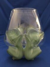 "Lalique Vase Antinea Clear Green Females W Flowing Hair 8"" Original Box #1229500"