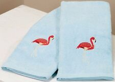 Tropical Paradise Pink Flamingo Hand Towels Embroidered Cotton Set of 2 Bath A
