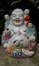 Porcelain Chinese Happy Laughing Buddha Famille Rose Mille Fleur Gilt