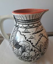 VTG Earthenware hand crafted painted black white Spanish Mexican story LG RARE