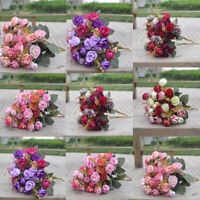 2 Bouquet 42 Head Artifical Rose Silk Flower Bouquet Home Wedding Decor New