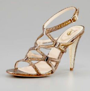 Vince Camuto Russell & Bromley Vogue Gold  Snake Print Leather Sandal EU 40 Uk 7