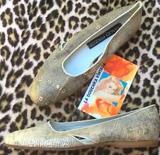 Maud Frizon 1980s Women Flats Ballerinas~Rare Ombre Lizard~Made In Italy~New~8