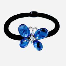 USA Butterfly Ponytail holder Elastic Rhinestone Crystal Hair Tie Rope Blue 16