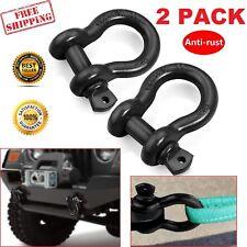 "1 Pair Heavy Duty 3/4"" Black 4.75 Ton D-Ring Bow Shackle JEEP Off Road 4x4 ATV"
