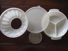 Vintage Tupperware 4 pc. Jello Mold Jel-N-Serv Includes Divided Serving Dish EUC