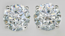 3ct tw. Earrings AAAAA Top Russian Quality CZ  Moissanite Simulant 14kt W Gold