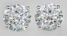 2 ct tw. Earrings AAAAA Top Russian Quality CZ  Moissanite Simulant 14kt W Gold
