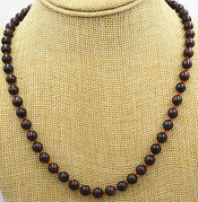 "Natural 8mm Round Dark Red Garnet Knotted Gemstone Beaded Necklace 18""AAA"