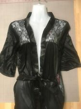 Sexy Ladies Black Satin Lace Dressing Gown Bedroom Robe With G-string See Thru