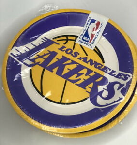 """Vtg 80s Los Angeles Lakers NBA Collection 7"""" Dessert Plates 55ct Beach Products"""