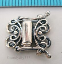 1x Oxidized Sterling Silver 2-strand Butterfly Box Clasp 10mm #444