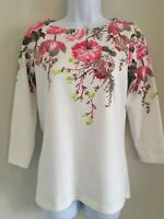JOULES WHITE PINK FLOWERED LONG SLEEVED JERSEY TOP UK 8 EXCELLENT CONDITION