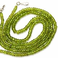 "NATURAL GEM PERIDOT 4-5MM FACETED RONDELLE BEADS 103CTS 17"" NECKLACE OLIVE GREEN"