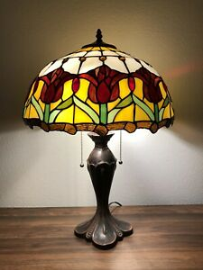 """Enjoy Tiffany Style Table Lamp Stained Glass Tulips Red Vintage W16""""*H24"""" ET1660"""