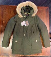 Woolrich uomo TG S Artic parka df colore verde militare pelliccia coyote inverno