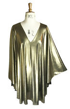 Baylis & Knight Gold plunge neck STUDIO 54 Glam 70's Bat Wing DISCO Dress