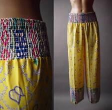 Sale Yellow Paisley Print Bohemian Smocked Waist Wide Leg Palazzo 82 ac Pants M