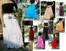 GYPSY SKIRT DRESS BOHO HIPPY PEASANT SHABBY COTTON FLOATY BUCKLE HANDMADE