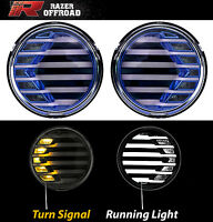 BLUE+Clear lens+Turn Signal LED Light+DRL Running Light for 07-17 Jeep Wrangler