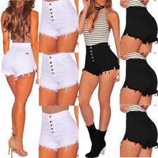 UK Stock Women Girls Student High Waist Denim Beach Jeans Pants Hot Short Casual
