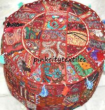 Indian-Handmade-Round-Pouf-Cover-Vintage-Cotton-Ottoman-Patchwork-Footstool  *