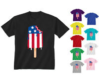 Youth Kids Childrens American USA Flag Lolly Lollipop T-shirt NEW Age 5-13