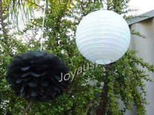 18x White paper lanterns black paper pom pom wedding birthday hanging decoration