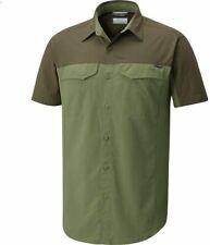 Columbia Mens Silver Ridge Blocked Moss Tone Peat Moss Short Sleeve Shirt Sz Xl