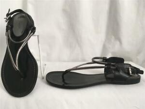 COACH Black & Silver Patent CASSANDRA Thong Sandals Shoes 8.5 B