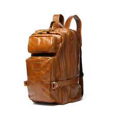 Men's Travel Leather Bag Backpack Knapsack School Casual Laptop Rucksack Backbag