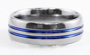 Mens Titanium Gray & Blue Grooved Ring Band Size 12.5