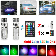 2x Car LED Light Bulbs RGB Color Changing W5W T10 Side Wedge Canbus SMD + Remote