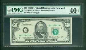 FR#2117-B* 1969-C $50 RARE NEW YORK LOW SERIAL STAR NOTE PMG EXTRA FINE 40 EPQ!