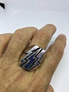 Vintage Men's Southwestern Ring Gemstone Lightning Bolt Silver White Bronze