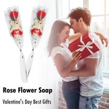 Valentines Day Gift Bear Rose Flower Bouquet Soap Creative Cartoon Bouquet (Red)