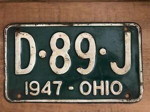 AMERICAN NUMBER PLATE ORIGINAL OHIO VINTAGE 1947 D.89.J AUTOMOBILIA