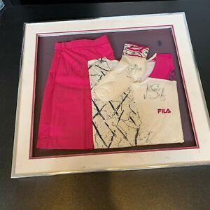 Monica Seles Signed Match Worn Game Used Tennis Shirt, Skirt & Socks JSA COA