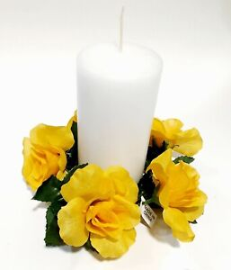 """Yellow Rose 6.5"""" Candle Ring 3.5"""" Opening Pillar Home (Silk Flower Decor Only)"""