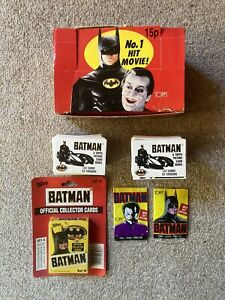 Batman 1989 Topps Trading Cards Series 1 One Display Box Stickers Packets Burton