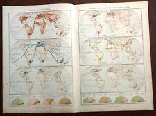 Carta geografica antica PLANISFERO ANIMALI COMBUSTIBILI De Agostini 1927 Old map