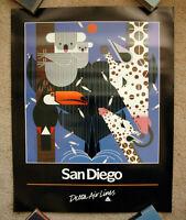 Vintage Original 1980s DELTA AIRLINE SAN DIEGO Travel Poster art California