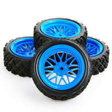 RC 1/10 Rubber Tyres Blue Wheel Rim&tires Set for 12mm Hex Off Road Racing Car