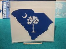 "South Carolina Palmetto Palm & Moon 4"" Window Decal Blue Surface Mount Sticker"