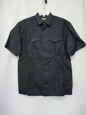 CAFE LUNA Men's Casual Short Sleeve Button Down Shirt Small(34/36) Black NWT