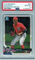 "2018 Bowman Prospects Chrome #52 ""Juan Soto"" RC @@LOOK@@ PSA 10 RC ""On Fire"" xy"