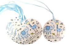 50 x BLUE LITTLE BOY Gift Tags & Ribbon - Baby Shower Gift New Born Birthday Boy